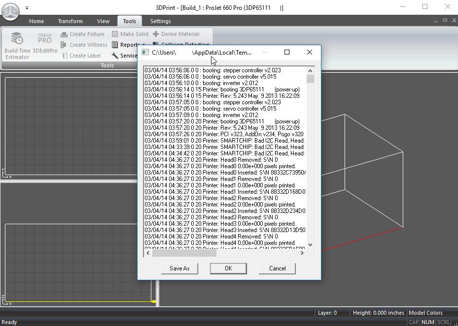 Projet x60 Series - Printer Log File